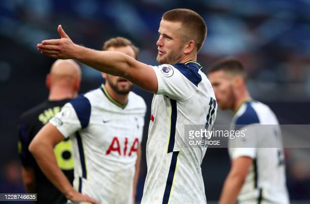 Tottenham Hotspur's English defender Eric Dier gestures during the English Premier League football match between Tottenham Hotspur and Newcastle...