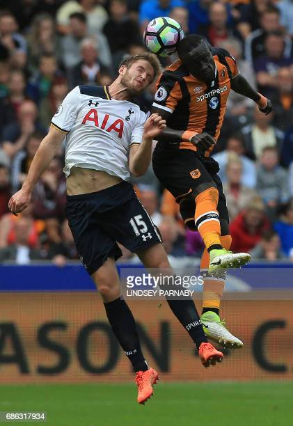 Tottenham Hotspur's English defender Eric Dier vies with Hull City's Senegalese striker Oumar Niasse during the English Premier League football match...