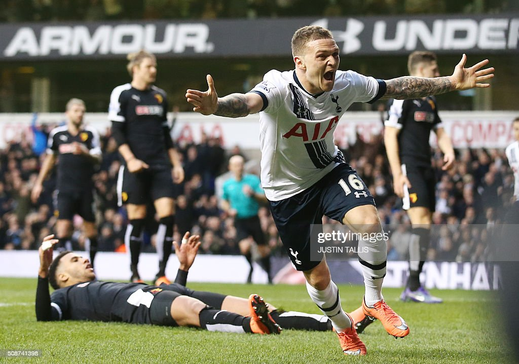 Tottenham Hotspur's English defender Kieran Trippier (R) celebrates after scoring during the English Premier League football match between Tottenham Hotspur and Watford at White Hart Lane in north London on February 6, 2016. / AFP / JUSTIN TALLIS / RESTRICTED TO EDITORIAL USE. No use with unauthorized audio, video, data, fixture lists, club/league logos or 'live' services. Online in-match use limited to 75 images, no video emulation. No use in betting, games or single club/league/player publications. /