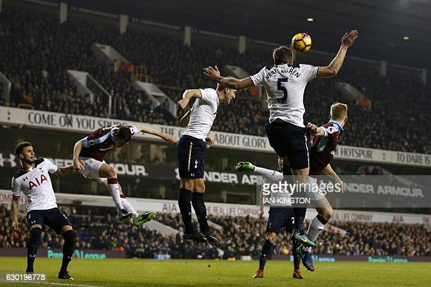 Tottenham Hotspur's English defender Kyle Walker Burnley's English defender Michael Keane Tottenham Hotspur's English striker Harry Kane and...