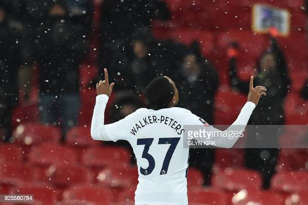Tottenham Hotspur's English defender Kyle WalkerPeters celebrates scoring the team's sixth goal during the English FA Cup 5th round replay football...