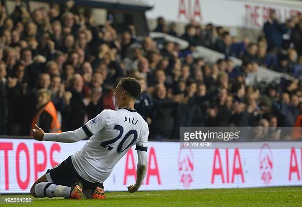 Tottenham Hotspur's English midfielder Dele Alli celebrates after scoring during the English Premier League football match between Tottenham Hotspur...
