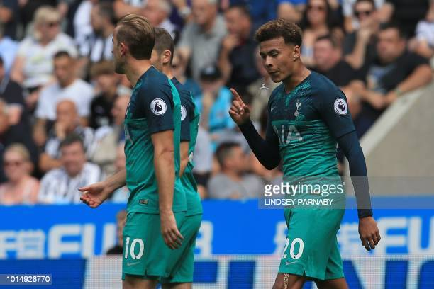 Tottenham Hotspur's English midfielder Dele Alli celebrates scoring his team's second goal during the English Premier League football match between...
