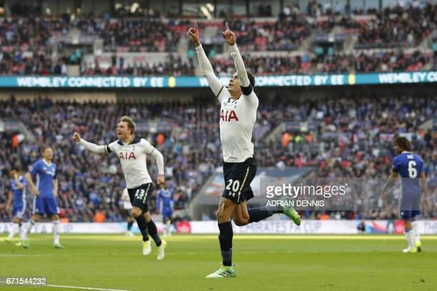 Tottenham Hotspur's English midfielder Dele Alli celebrates scoring the team's second goal during the FA Cup semifinal football match between...