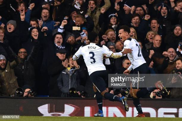 Tottenham Hotspur's English midfielder Dele Alli celebrates with Tottenham Hotspur's English defender Danny Rose after scoring the opening goal of...