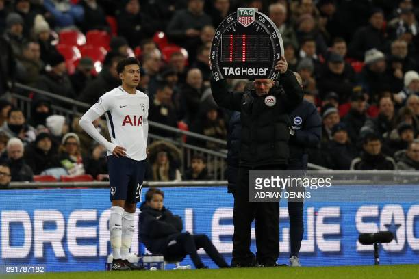 Tottenham Hotspur's English midfielder Dele Alli comes on as a second half substitute during the English Premier League football match between...