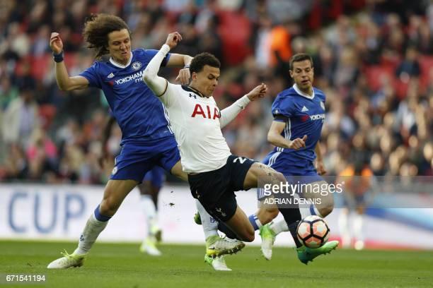 Tottenham Hotspur's English midfielder Dele Alli scores past Chelsea's Brazilian defender David Luiz during the FA Cup semifinal football match...