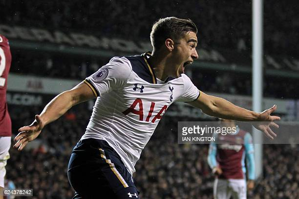 Tottenham Hotspur's English midfielder Harry Winks celebrates after scoring Tottenham's first goal during the English Premier League football match...
