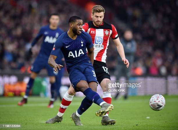 Tottenham Hotspur's English midfielder Japhet Tanganga passes the ball during the English FA Cup fourth round football match between Southampton and...