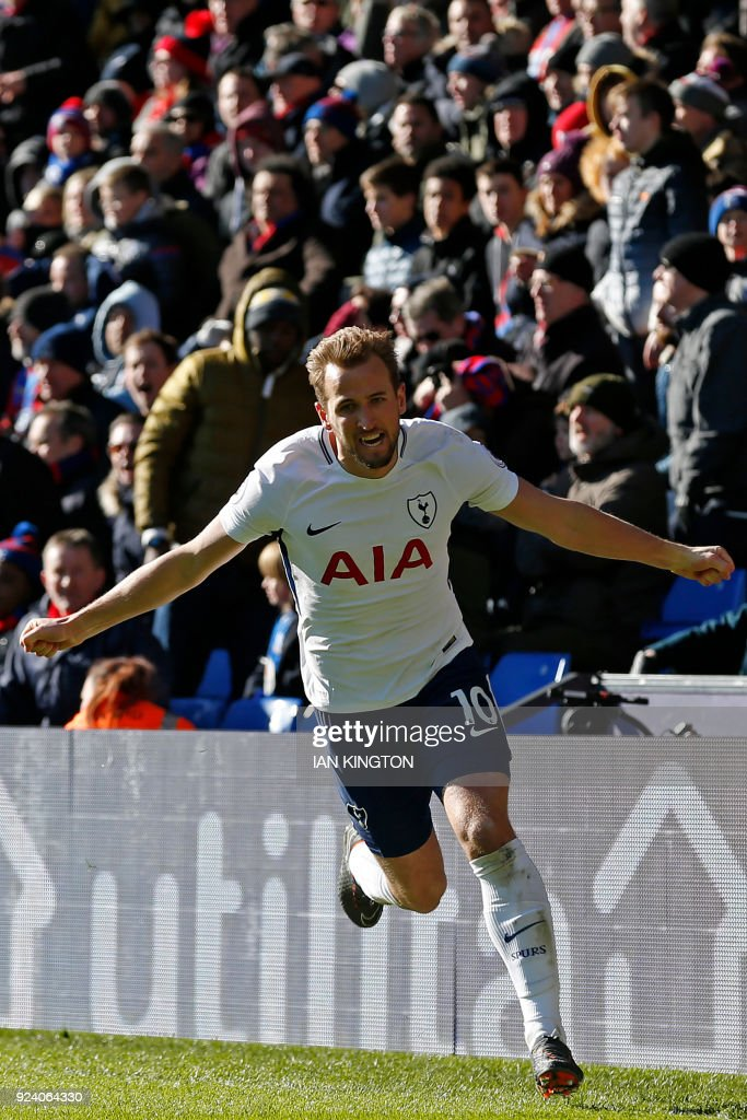 Tottenham Hotspur's English striker Harry Kane celebrates after scoring the opening goal during the English Premier League football match between Crystal Palace and Tottenham Hotspur at Selhurst Park in south London on February 25, 2018. Tottenham won the game 1-0. / AFP PHOTO / Ian KINGTON / RESTRICTED TO EDITORIAL USE. No use with unauthorized audio, video, data, fixture lists, club/league logos or 'live' services. Online in-match use limited to 75 images, no video emulation. No use in betting, games or single club/league/player publications. /