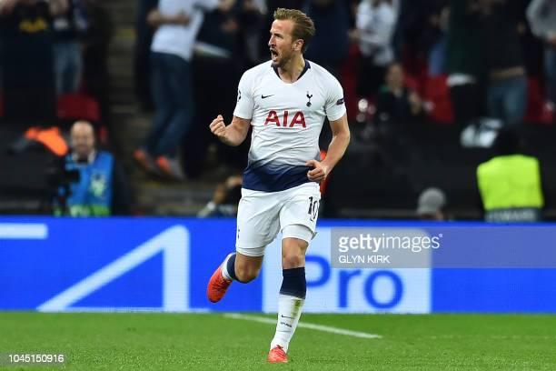 Tottenham Hotspur's English striker Harry Kane celebrates after scoring their first goal during the Champions League group B football match match...