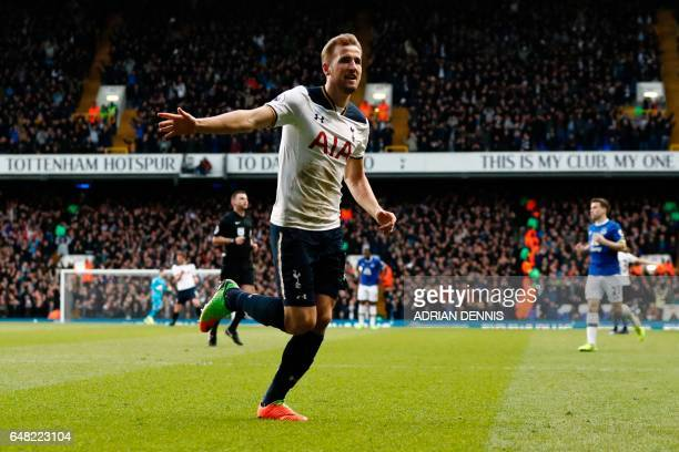 Tottenham Hotspur's English striker Harry Kane celebrates after scoring their second goal during the English Premier League football match between...