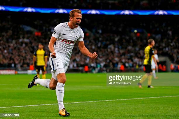 Tottenham Hotspur's English striker Harry Kane celebrates after scoring their second goal during the UEFA Champions League Group H football match...