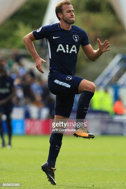 Tottenham Hotspur's English striker Harry Kane celebrates after scoring their third goal his second during the English Premier League football match...