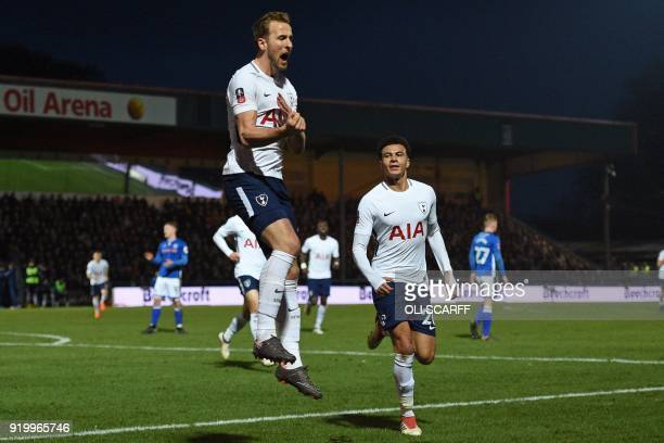 Tottenham Hotspur's English striker Harry Kane celebrates after scoring their second goal from the penalty spot during the English FA Cup fifth round...