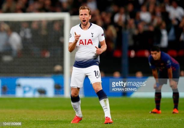 Tottenham Hotspur's English striker Harry Kane celebrates scoring his team's first goal during the Champions League group B football match match...