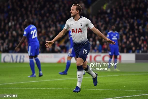Tottenham Hotspur's English striker Harry Kane celebrates scoring his team's first goal during the English Premier League football match between...