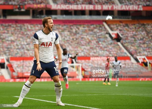 Tottenham Hotspur's English striker Harry Kane celebrates scoring his team's third goal during the English Premier League football match between...