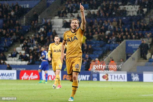 Tottenham Hotspur's English striker Harry Kane celebrates scoring his fourth goal their sixth during the English Premier League football match...