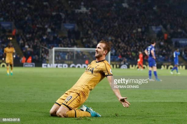TOPSHOT Tottenham Hotspur's English striker Harry Kane celebrates scoring his third goal their fifth during the English Premier League football match...
