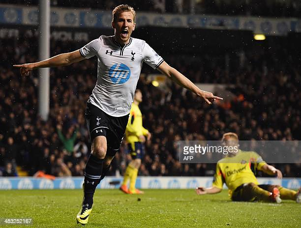 Tottenham Hotspur's English striker Harry Kane celebrates scoring Tottenham's second goal during the English Premier League football match between...