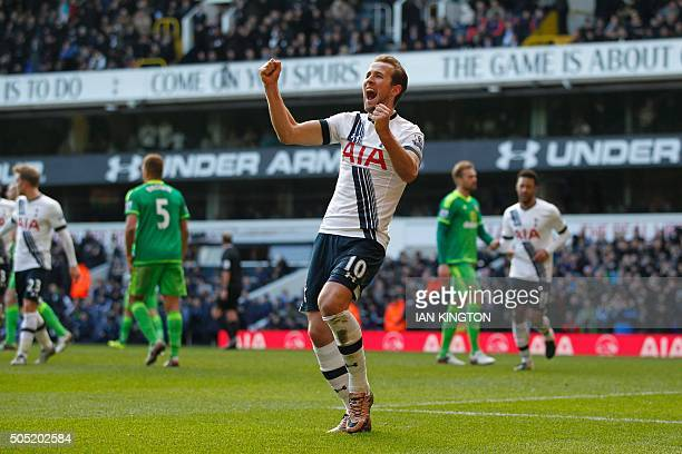 Tottenham Hotspur's English striker Harry Kane celebrates scoring their fourth goal from the penalty spot during the English Premier League football...