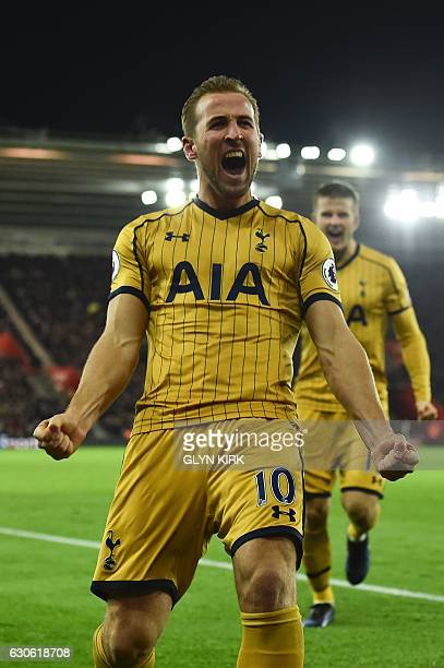 Tottenham Hotspur's English striker Harry Kane celebrates scoring their second goal during the English Premier League football match between...