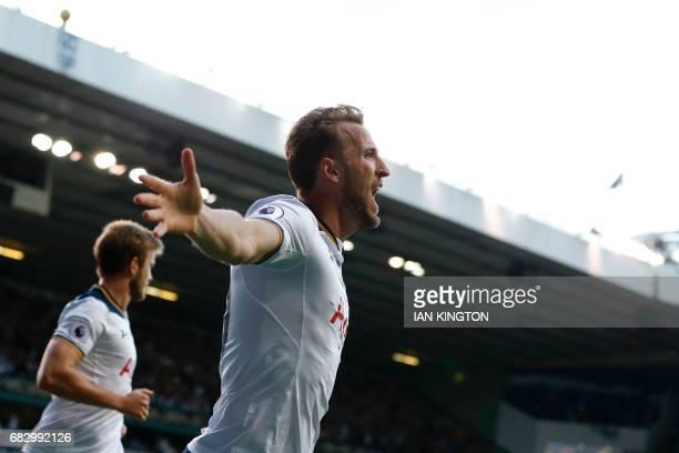 Tottenham Hotspur's English striker Harry Kane celebrates scoring the second goal during the English Premier League football match between Tottenham...
