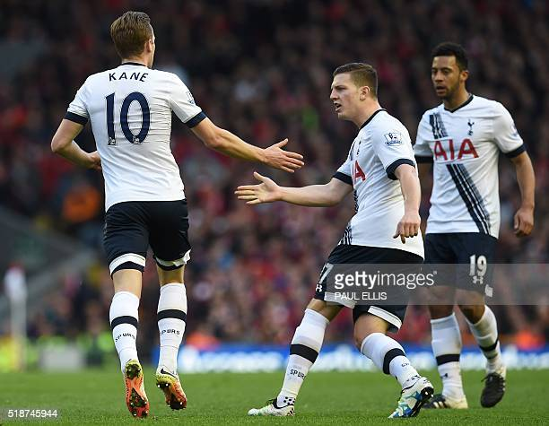 Tottenham Hotspur's English striker Harry Kane celebrates with Tottenham Hotspur's Austrian defender Kevin Wimmer after scoring thier first goal...