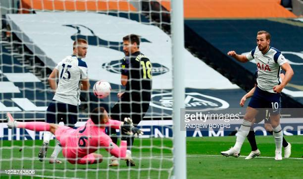 Tottenham Hotspur's English striker Harry Kane has n early shot saved by Newcastle United's English goalkeeper Karl Darlow during the English Premier...