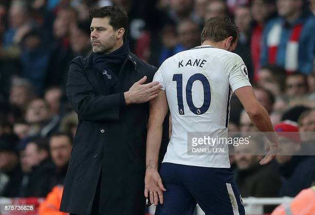 Tottenham Hotspur's English striker Harry Kane leaves the pitch after being substituted off during the English Premier League football match between...