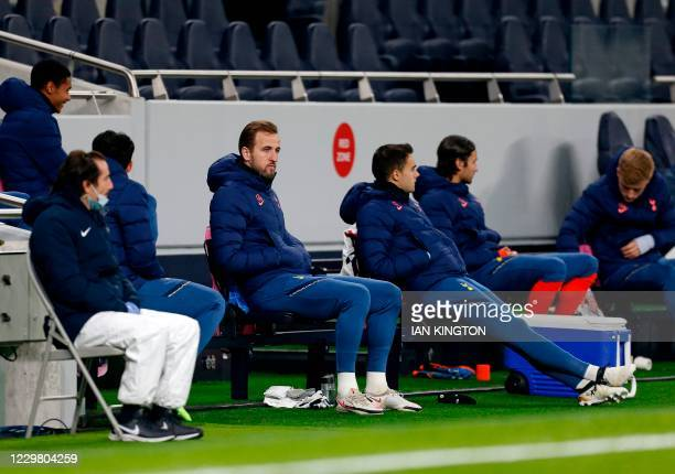 Tottenham Hotspur's English striker Harry Kane looks on from the substitute bench during the UEFA Europa League 1st round Group J football match...