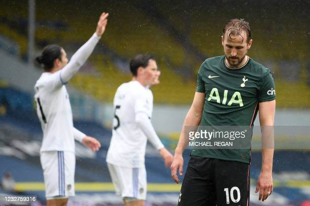Tottenham Hotspur's English striker Harry Kane reacts after he scores a goal ruled offside during the English Premier League football match between...