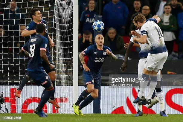 Tottenham Hotspur's English striker Harry Kane scores his team's second goal during the UEFA Champions League group B football match between...