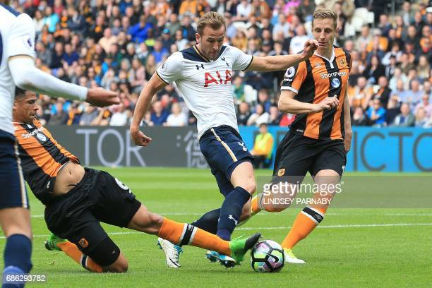 Tottenham Hotspur's English striker Harry Kane scores his team's second goal during the English Premier League football match between Hull City and...