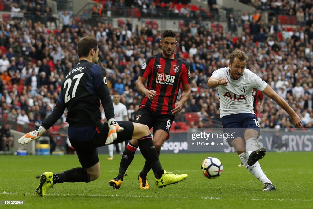 Tottenham Hotspur's English striker Harry Kane (R) shot at goal blocked by Bournemouth's Bosnian-Herzegovinian goalkeeper Asmir Begovic (L) during the English Premier League football match between Tottenham Hotspur and Bournemouth at Wembley Stadium in London, on October 14, 2017. / AFP PHOTO / Adrian DENNIS / RESTRICTED TO EDITORIAL USE. No use with unauthorized audio, video, data, fixture lists, club/league logos or 'live' services. Online in-match use limited to 75 images, no video emulation. No use in betting, games or single club/league/player publications. /