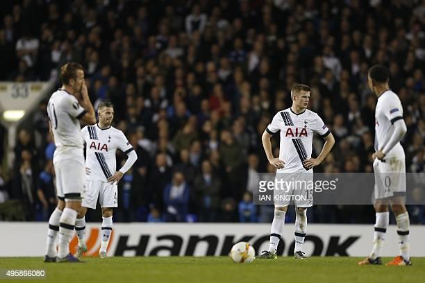 Tottenham Hotspur's English striker Harry Kane Tottenham Hotspur's Belgian defender Toby Alderweireld Tottenham Hotspur's English defender Eric Dier...