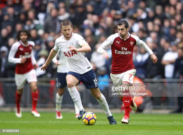 Tottenham Hotspur's Eric Dier and Arsenal's Henrikh Mkhitaryan battle for the ball during the Premier League match at Wembley Stadium London