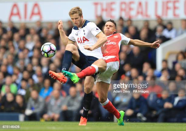 Tottenham Hotspur's Eric Dier and Arsenal's Kieran Gibbs battle for the ball during the Premier League match at White Hart Lane London