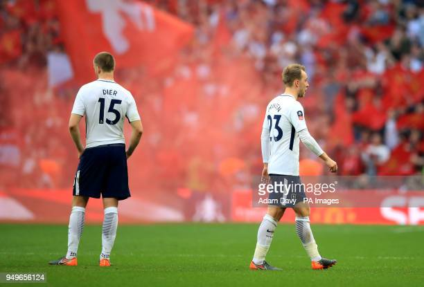 Tottenham Hotspur's Eric Dier and Christian Eriksen appear dejected after the Emirates FA Cup semifinal match at Wembley Stadium London