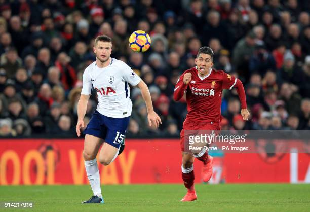 Tottenham Hotspur's Eric Dier and Liverpool's Roberto Firmino battle for the ball during the Premier League match at Anfield Liverpool