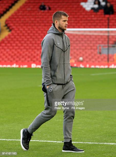 Tottenham Hotspur's Eric Dier inspects the pitch during the Premier League match at Anfield Liverpool