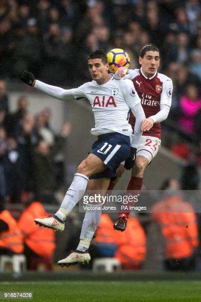 Tottenham Hotspur's Erik Lamela and Arsenal's Hector Bellerin during the Premier League match at Wembley Stadium London
