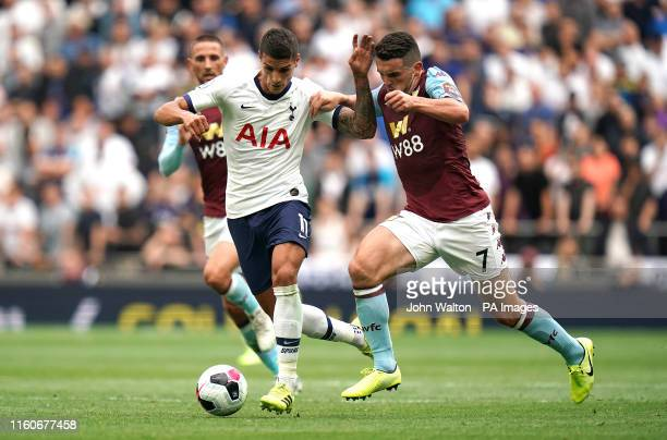 Tottenham Hotspur's Erik Lamela and Aston Villa's John McGinn battle for the ball during the Premier League match at Tottenham Hotspur Stadium,...
