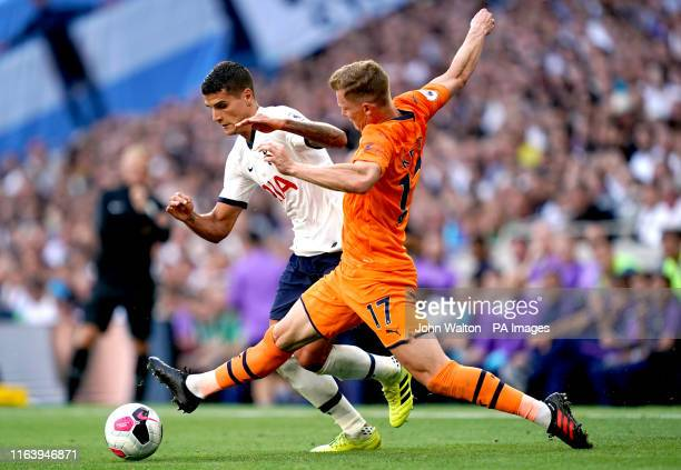 Tottenham Hotspur's Erik Lamela and Newcastle United's Emil Krafth battle for the ball during the Premier League match at Tottenham Hotspur Stadium,...