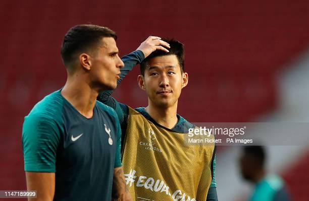 Tottenham Hotspur's Erik Lamela and Son Heung-min during a training session at the Estadio Metropolitano, Madrid.