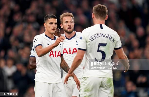 Tottenham Hotspur's Erik Lamela celebrates scoring his side's fourth goal of the game with Harry Kane and Jan Vertonghen Tottenham Hotspur v Red Star...