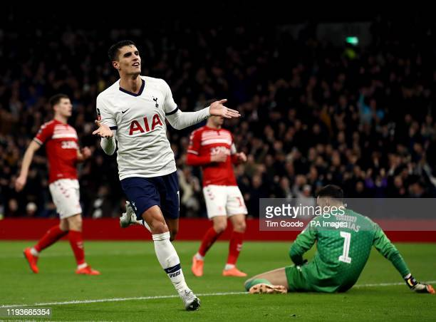 Tottenham Hotspur's Erik Lamela celebrates scoring his side's second goal of the game during the FA Cup third round replay match at Tottenham Hotspur...