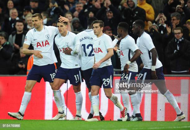Tottenham Hotspur's Erik Lamela celebrates scoring his side's second goal with teammates Fernando Llorente Victor Wanyama Harry Winks Serge Aurier...