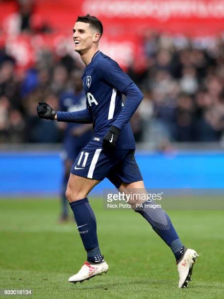 Tottenham Hotspur's Erik Lamela celebrates scoring his side's second goal of the game during the Emirates FA Cup quarter final match at the Liberty...
